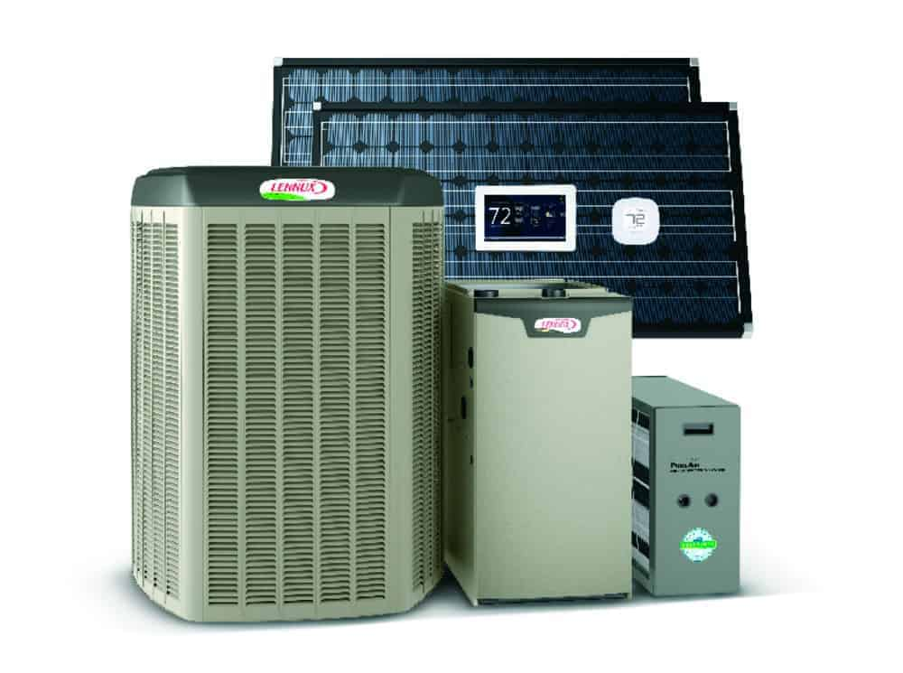 Photo of Lennox heating and cooling equipment, including an air conditioner, gas furnace, air filtration, smart thermostat and zoning system. Solar panels can be seen in the background because the entire hvac system is solar power ready.