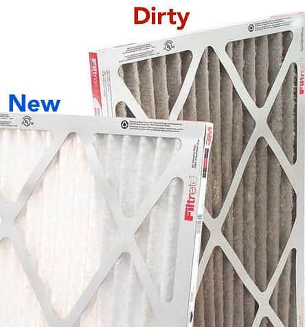 photo shows that a dirty furnace filter is brown and full of dust, next to a new furnace filter that is white and clean