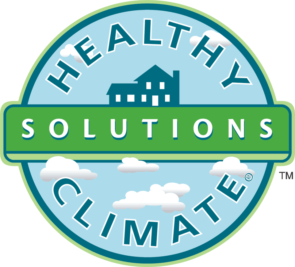 This logo is a blue circle with a green stripe across it and lettering that says Healthy Climate Solutions