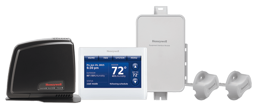 Photo of the Honeywell Home Thermostat and IAQ system suite