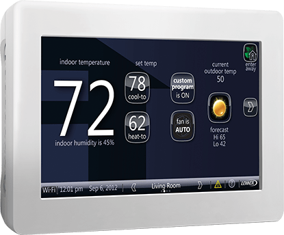 Photo of a Wifi Smart thermostat on screen that manages the automatic temperature settings. This thermostat says that the indoor temperature is 72.