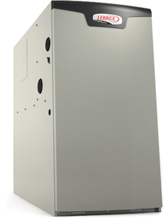 Photo of a high efficiency lennox gas furnace; it is shaped like a tall box, colored tan and branded with the lennox logo. The image also shows holes in the side, where the furnace connects to the rest of the hvac system in a home.