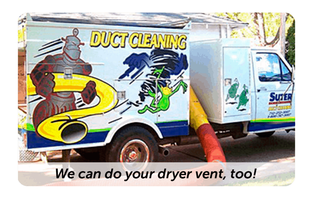 Image of duct truck with vacuum hoses inflated. Black lettering overlay for caption