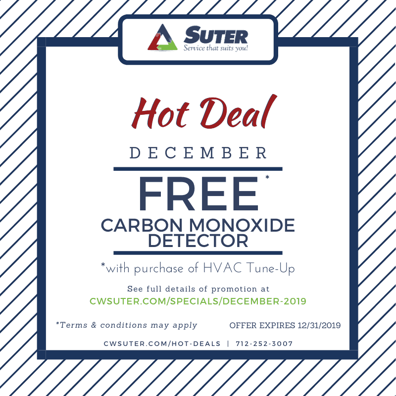Promotional graphic for December Hot Deal offer of a free CO detector with the purchase of an HVAC Tune Up