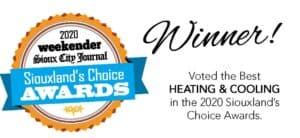 Award badge from The Weekender and Sioux City Journal's Siouxland Choice Award. Graphic says Suter was voted the best Heating and Cooling Contractor in Sioux City for the 6th year running