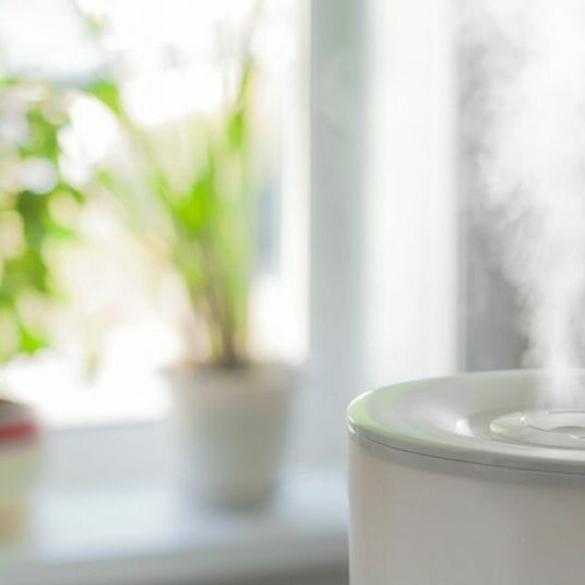 Pretty white room with a plant on the windowsill and a humidifier pouring steam into the air to fight the spread of Coronavirus.